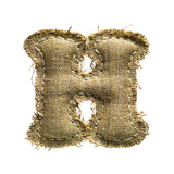 Linen Vintage Cloth Letter H Isolated On White