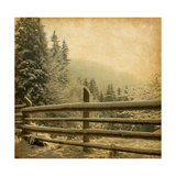 Retro Image Of Winter Landscape In The Carpathians Mountains Vintage Paper
