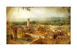 Ancient Town Lucca- Tuscany - Retro Styled Picture