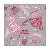 Seamless Pattern With Various Women'S Clothing  Shoes And Accessories In In Pink Color