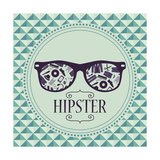 Hipster Card Glasses With Various Clothing And Accessories