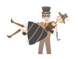 Steampunk Man Catching Steampunk Woman