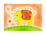 Happy Elephant And Birds  Child'S Drawing  Watercolor Painting On Paper