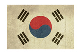 Grunge Sovereign State Flag Of Country Of South Korea In Official Colors