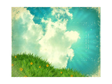 Vintage Sky With Green Grass On Old Paper Texture