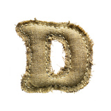 Linen Vintage Cloth Letter D Isolated On White