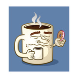 Grumpy Coffee Cartoon Character Eating A Donut