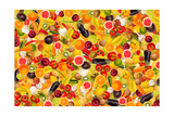 Different Types Of Fruit And Vegetables As Background, Colorful Reproduction d'art par Pasiphae