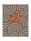 A Illustration Based On Aboriginal Style Of Dot Painting Depicting Circle Background Reproduction d'art par Deboracilli