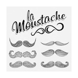 Hand Drawn Black Mustache Set