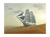 Sailing Ship In Desert