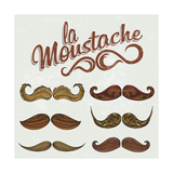 Hand Drawn Brown Mustache Set