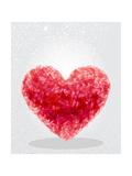 Red Heart Geometric Shape Reproduction d'art par Cienpies