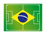 Soccer Field Brazil Flag