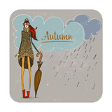Hand Drawn Autumn Girl