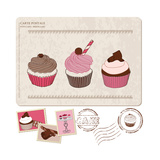 Set Of Cupcakes On Old Postcard