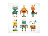 Set Of Cute Vintage Robots
