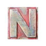 Wooden Alphabet Block  Letter N