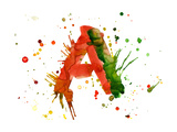 Watercolor Paint - Letter A
