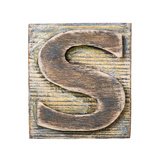 Wooden Alphabet Block  Letter S
