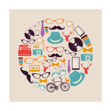 Vintage Hipsters Icons Circle