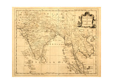 Old Map Of India Printed 1750