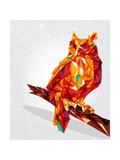 Owl Bird Geometric Illustration Reproduction d'art par Cienpies