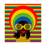 Retro Style Girl With Sunglasses