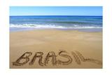 Brasil Written On Sandy Beach