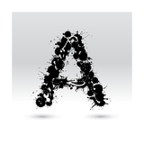 Letter A Formed By Inkblots