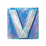 Wooden Alphabet Block, Letter V Reproduction d'art par Donatas1205