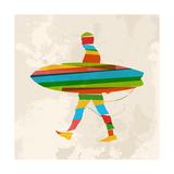 Vintage Multicolor Surfer Reproduction d'art par Cienpies