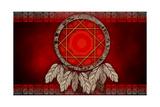 Dreamcatcher On Red Background
