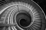 Spiraling Stairs Black And White