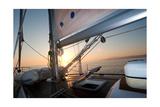 Sailing Boat Deck At Sunset
