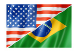 Usa And Brazil Flag