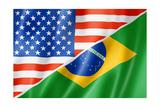 Usa And Brazil Flag