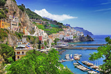 Travel In Italy Series - View Of Beautiful Amalfi Reproduction d'art par Maugli-l