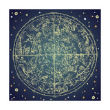 Vintage Zodiac Constellation Of Northern Stars Reproduction d'art par Alisa Foytik