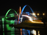 Kubitschek Bridge At Night With Colored Lighting