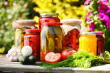 Jars Of Pickled Vegetables In The Garden Marinated Food