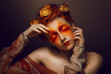 Bodyart Imagination Artistic Woman With Red - Gold Makeup And Flowers Coloring