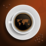 World Map In Coffee Cup