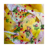 Pink Roses On Yellow Abstract