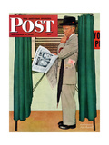 """Undecided"" Saturday Evening Post Cover  November 4  1944  Man in voting booth w/newspaper"