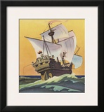 Illustration of Peter Pan and the Darling Children at Sea by Roy Best