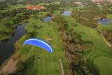 Paramotor Flying over Golf Course in Belek  Aerial  Antalya  Turkey