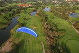 Paramotor Flying over Golf Course in Belek  Aerial  Antalya  Turkey