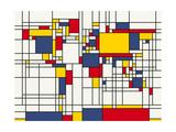 Mondrian Abstract World Map Reproduction d'art par Michael Tompsett