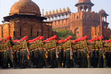Indian Army Soldiers March in Formation  New Delhi  India